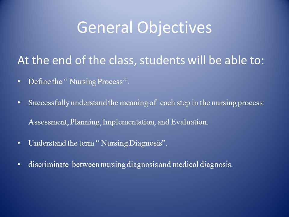 General Objectives At the end of the class, students will be able to: Define the Nursing Process .