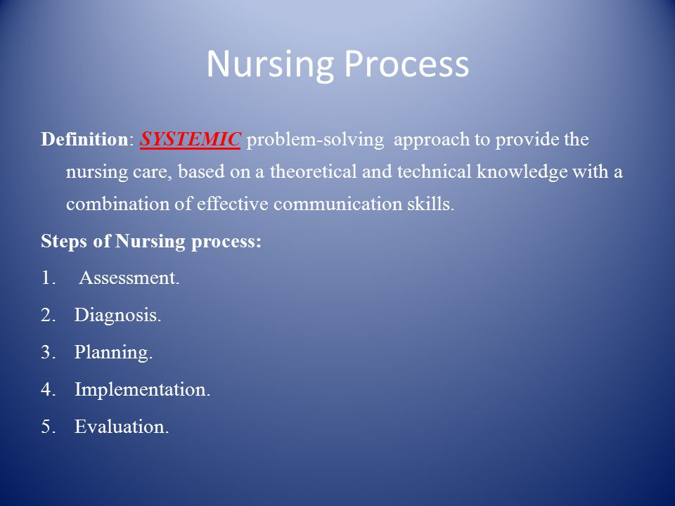 Nursing Process Definition: SYSTEMIC problem-solving approach to provide the nursing care, based on a theoretical and technical knowledge with a combination of effective communication skills.