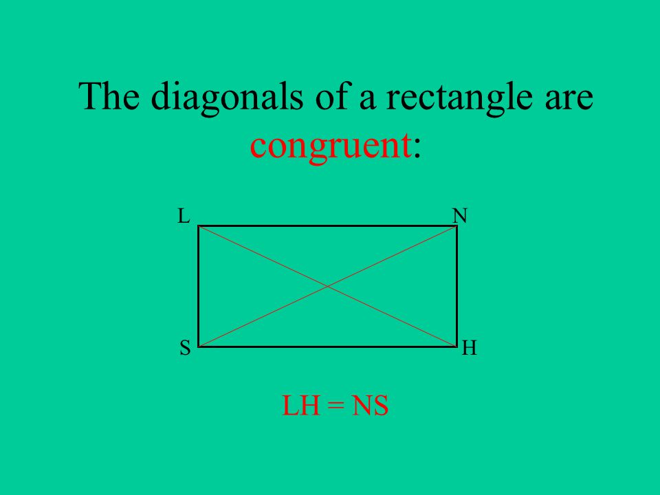 The diagonals of a rectangle are congruent: LN HS LH = NS