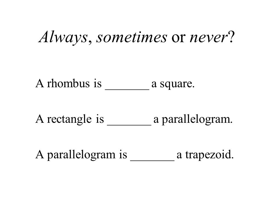 Always, sometimes or never. A rhombus is _______ a square.