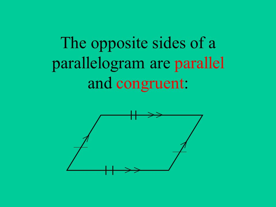 The opposite sides of a parallelogram are parallel and congruent: > > > > > >