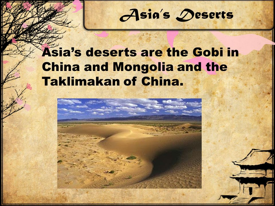 Asia's Deserts Asia's deserts are the Gobi in China and Mongolia and the Taklimakan of China.