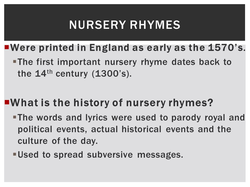 FAIRY TALES, NURSERY RHYMES AND FABLES.  What is a fable?  A ...