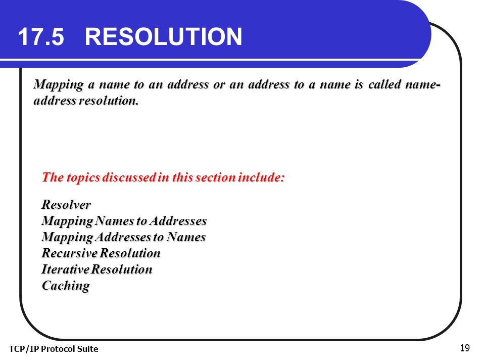 TCP/IP Protocol Suite RESOLUTION Mapping a name to an address or an address to a name is called name- address resolution.