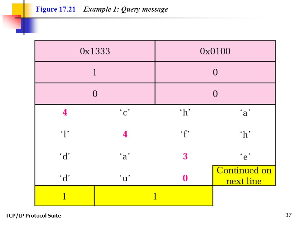 TCP/IP Protocol Suite 37 Figure Example 1: Query message