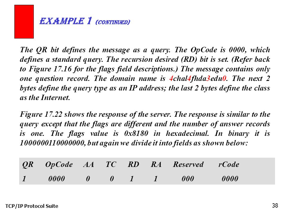 TCP/IP Protocol Suite 38 Example 1 (Continued) QR OpCode AA TC RD RA Reserved rCode The QR bit defines the message as a query.
