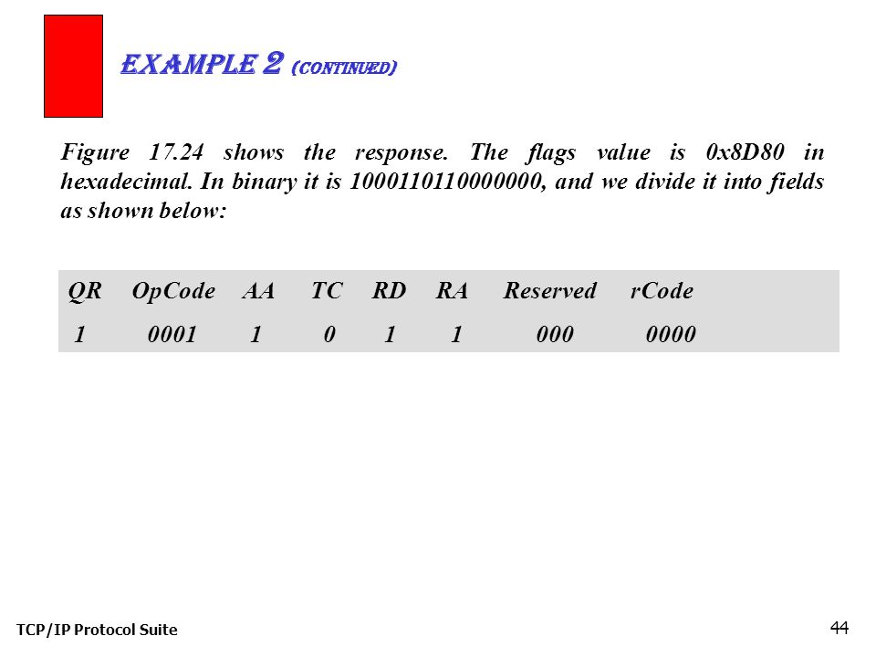 TCP/IP Protocol Suite 44 Example 2 (Continued) QR OpCode AA TC RD RA Reserved rCode Figure shows the response.