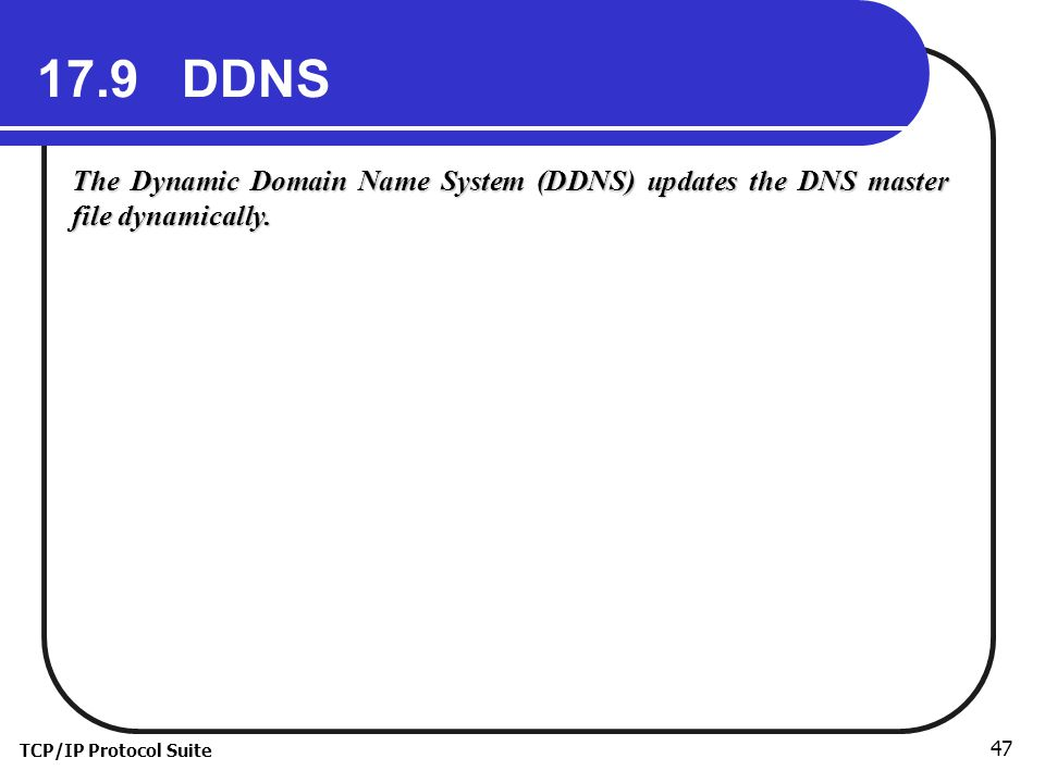 TCP/IP Protocol Suite DDNS The Dynamic Domain Name System (DDNS) updates the DNS master file dynamically.