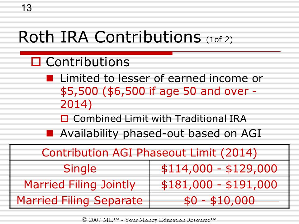 13 © 2007 ME™ - Your Money Education Resource™ Roth IRA Contributions (1of 2)  Contributions Limited to lesser of earned income or $5,500 ($6,500 if age 50 and over )  Combined Limit with Traditional IRA Availability phased-out based on AGI Contribution AGI Phaseout Limit (2014) Single$114,000 - $129,000 Married Filing Jointly$181,000 - $191,000 Married Filing Separate$0 - $10,000