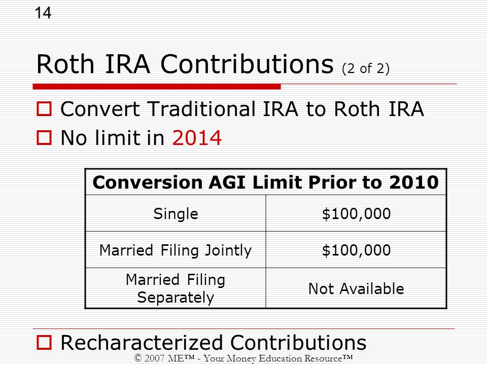14 © 2007 ME™ - Your Money Education Resource™ Roth IRA Contributions (2 of 2)  Convert Traditional IRA to Roth IRA  No limit in 2014  Recharacterized Contributions Conversion AGI Limit Prior to 2010 Single$100,000 Married Filing Jointly$100,000 Married Filing Separately Not Available
