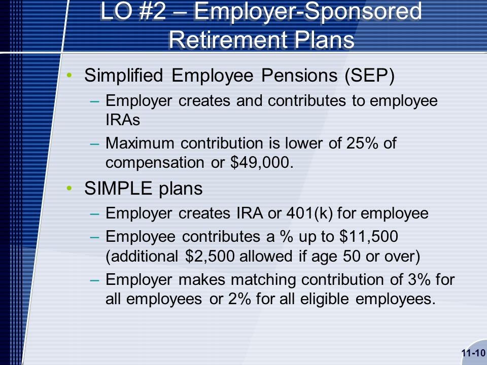 11-10 LO #2 – Employer-Sponsored Retirement Plans Simplified Employee Pensions (SEP) –Employer creates and contributes to employee IRAs –Maximum contribution is lower of 25% of compensation or $49,000.