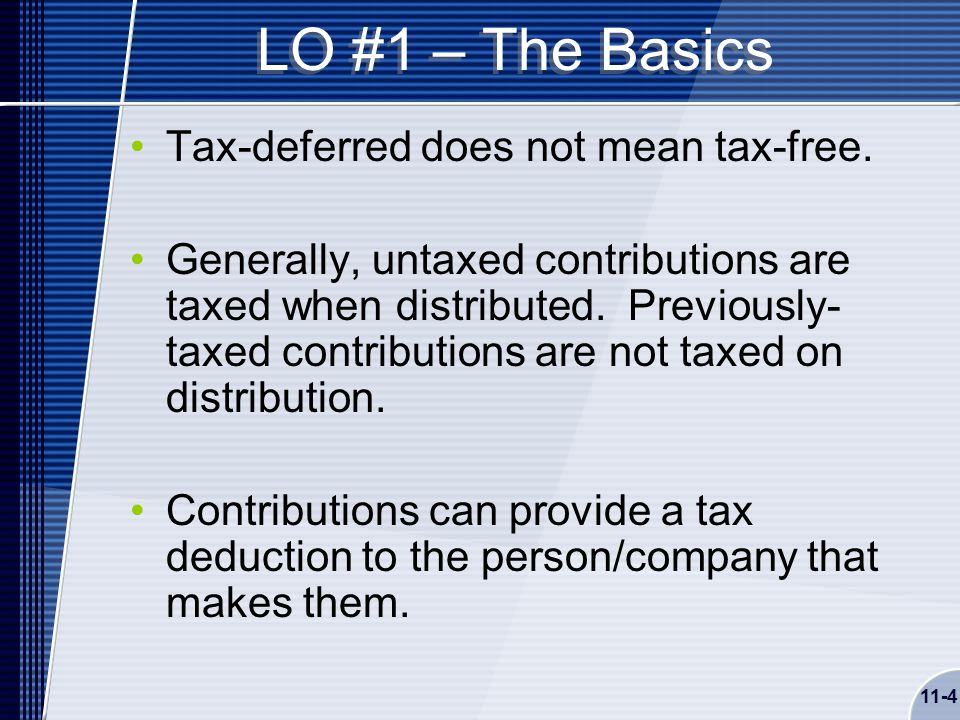 11-4 LO #1 – The Basics Tax-deferred does not mean tax-free.