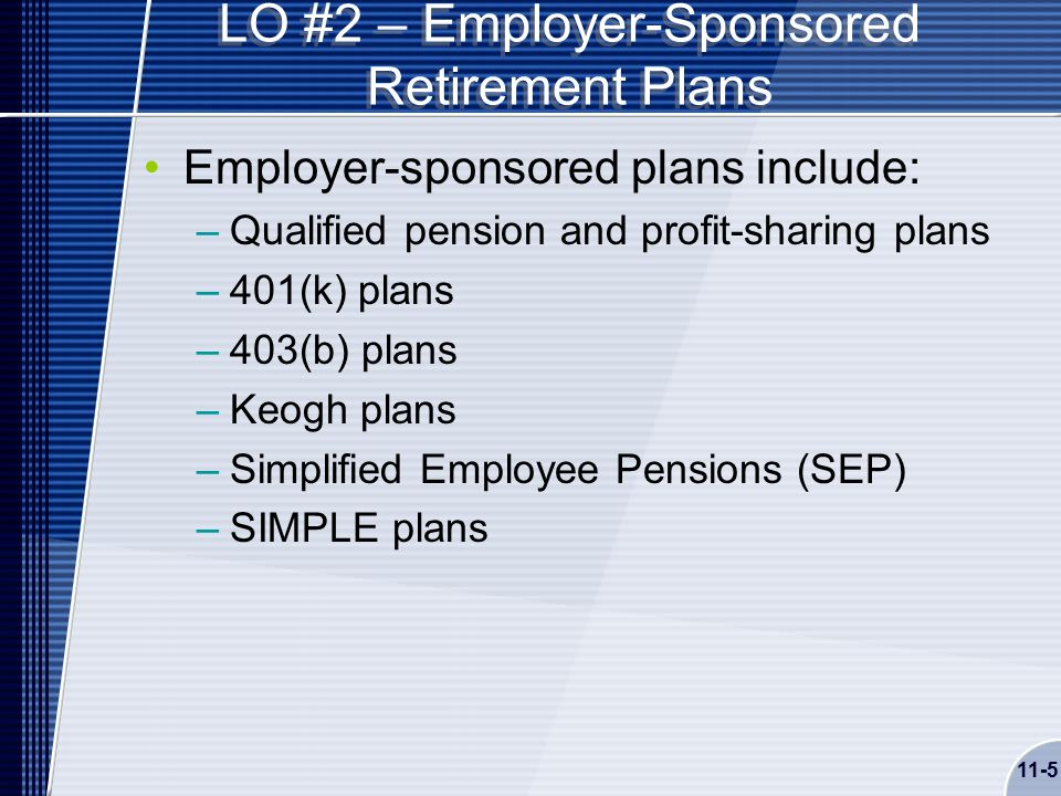 11-5 LO #2 – Employer-Sponsored Retirement Plans Employer-sponsored plans include: –Qualified pension and profit-sharing plans –401(k) plans –403(b) plans –Keogh plans –Simplified Employee Pensions (SEP) –SIMPLE plans