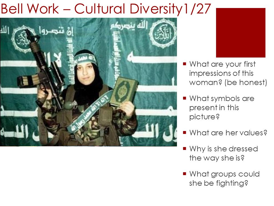 Bell Work – Cultural Diversity1/27  What are your first impressions of this woman.