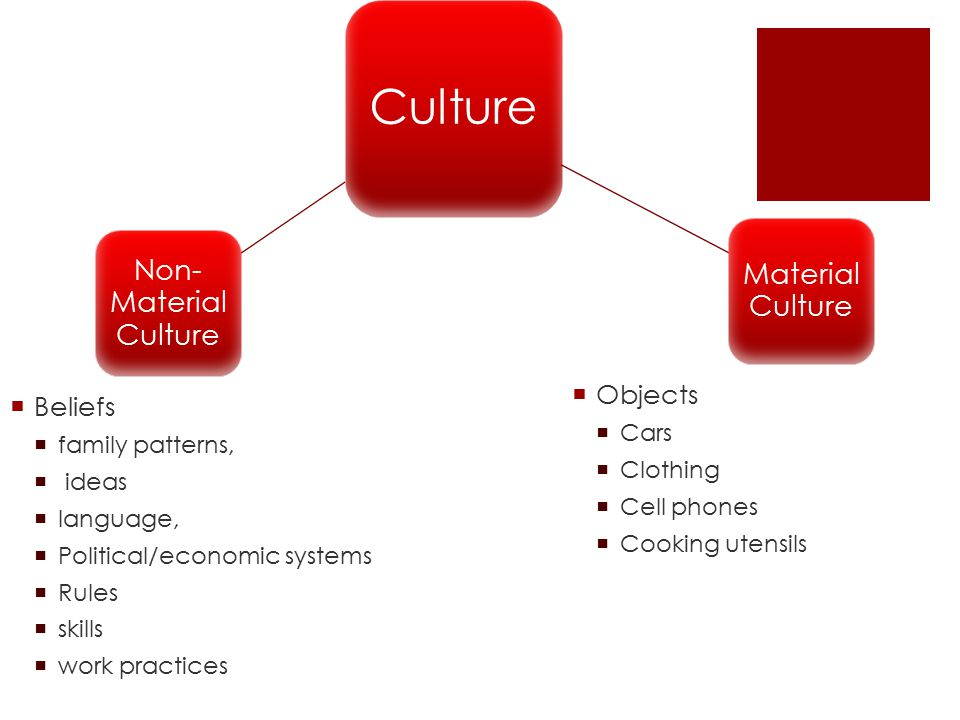 Culture Material Culture Non- Material Culture  Beliefs  family patterns,  ideas  language,  Political/economic systems  Rules  skills  work practices  Objects  Cars  Clothing  Cell phones  Cooking utensils