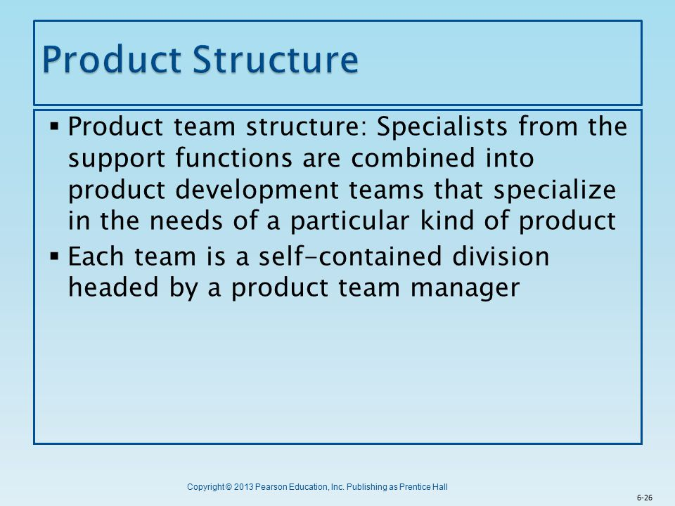Copyright © 2013 Pearson Education, Inc. Publishing as Prentice Hall  Product team structure: Specialists from the support functions are combined int