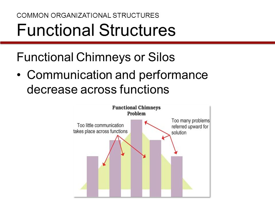 COMMON ORGANIZATIONAL STRUCTURES Functional Structures Functional Chimneys or Silos Communication and performance decrease across functions