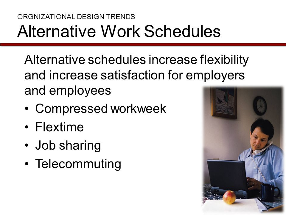 ORGNIZATIONAL DESIGN TRENDS Alternative Work Schedules Alternative schedules increase flexibility and increase satisfaction for employers and employee