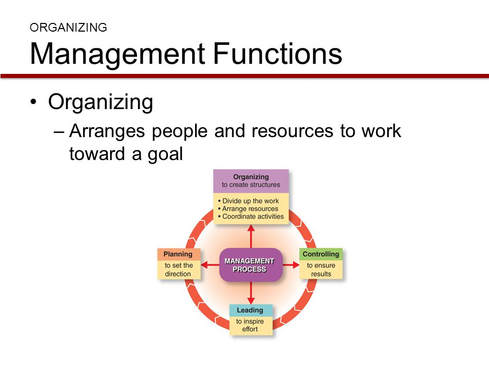 ORGANIZING Management Functions Organizing –Arranges people and resources to work toward a goal