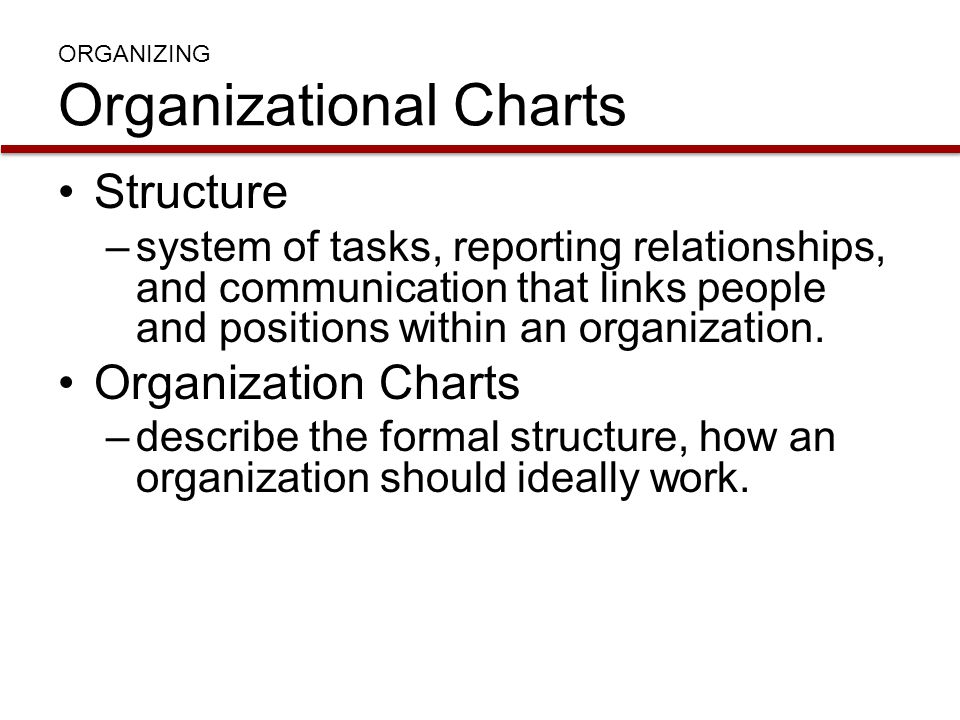 ORGANIZING Organizational Charts Structure –system of tasks, reporting relationships, and communication that links people and positions within an orga