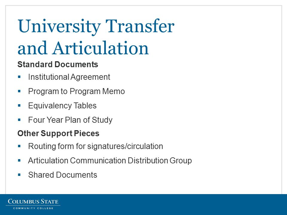  Institutional Agreement  Program to Program Memo  Equivalency Tables  Four Year Plan of Study University Transfer and Articulation Standard Documents Other Support Pieces  Routing form for signatures/circulation  Articulation Communication Distribution Group  Shared Documents