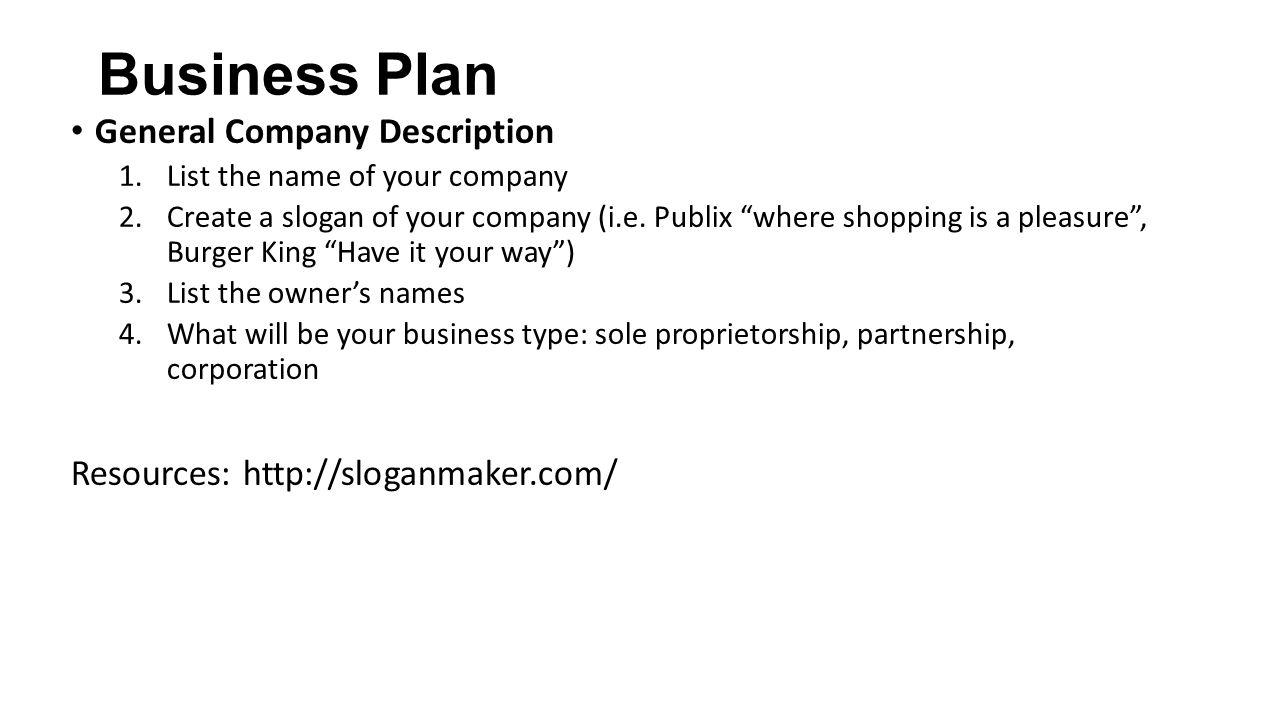 Business description in business plan