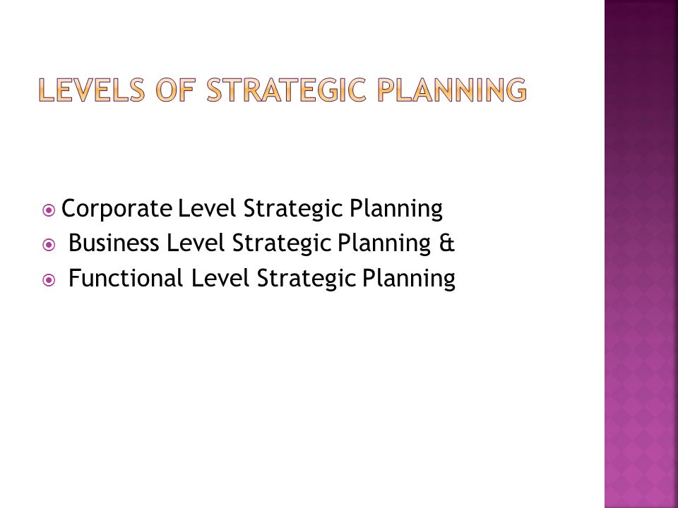  Corporate Level Strategic Planning  Business Level Strategic Planning &  Functional Level Strategic Planning