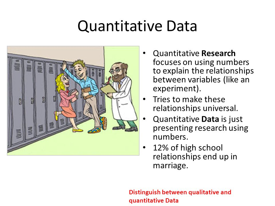 an explanation of the quantitative data Examples of quantitative are data or information that is measured numerically rather than qualitatively yourdictionary definition and usage example.