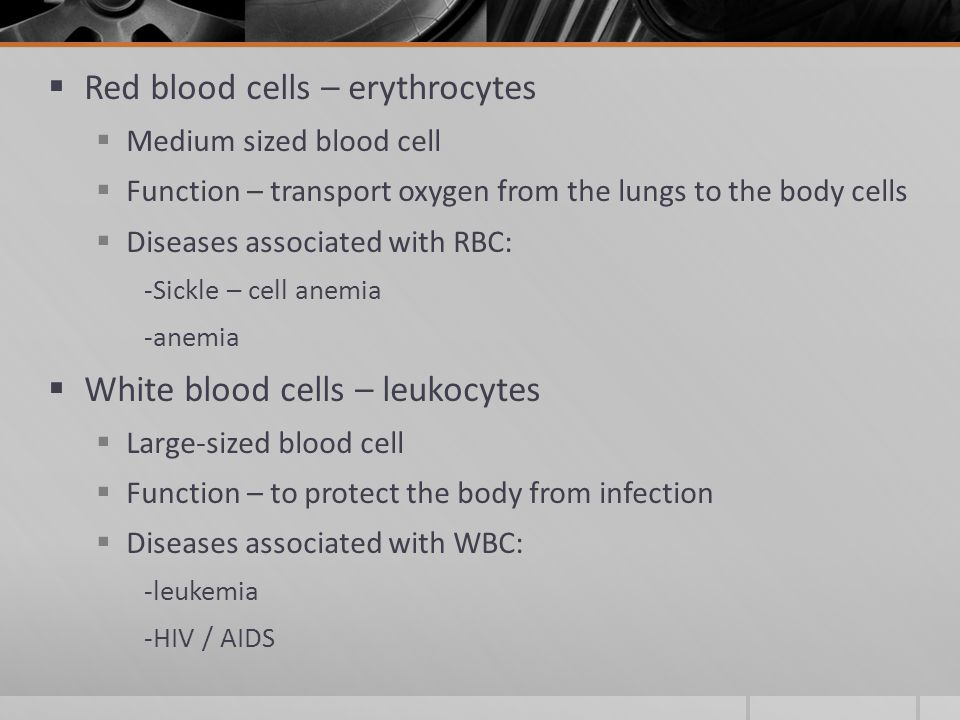 Red blood cells – erythrocytes  Medium sized blood cell  Function – transport oxygen from the lungs to the body cells  Diseases associated with RBC: -Sickle – cell anemia -anemia  White blood cells – leukocytes  Large-sized blood cell  Function – to protect the body from infection  Diseases associated with WBC: -leukemia -HIV / AIDS