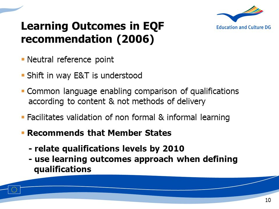 10  Neutral reference point  Shift in way E&T is understood  Common language enabling comparison of qualifications ccaccording to content & not methods of delivery  Facilitates validation of non formal & informal learning  Recommends that Member States - relate qualifications levels by use learning outcomes approach when defining cccqualifications Learning Outcomes in EQF recommendation (2006)