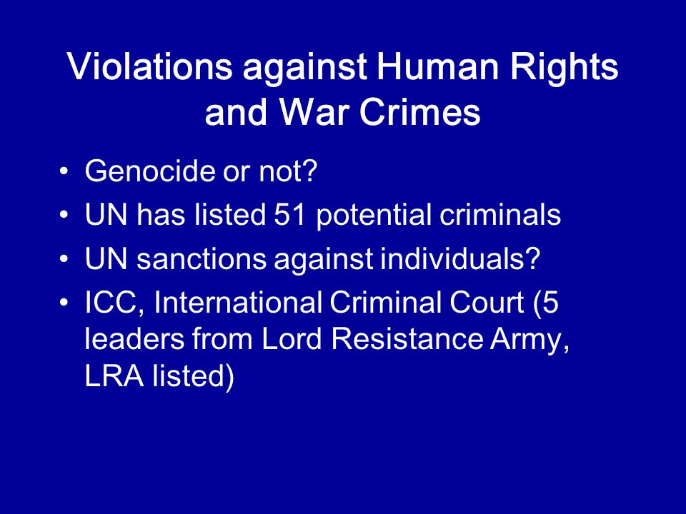 Violations against Human Rights and War Crimes Genocide or not.