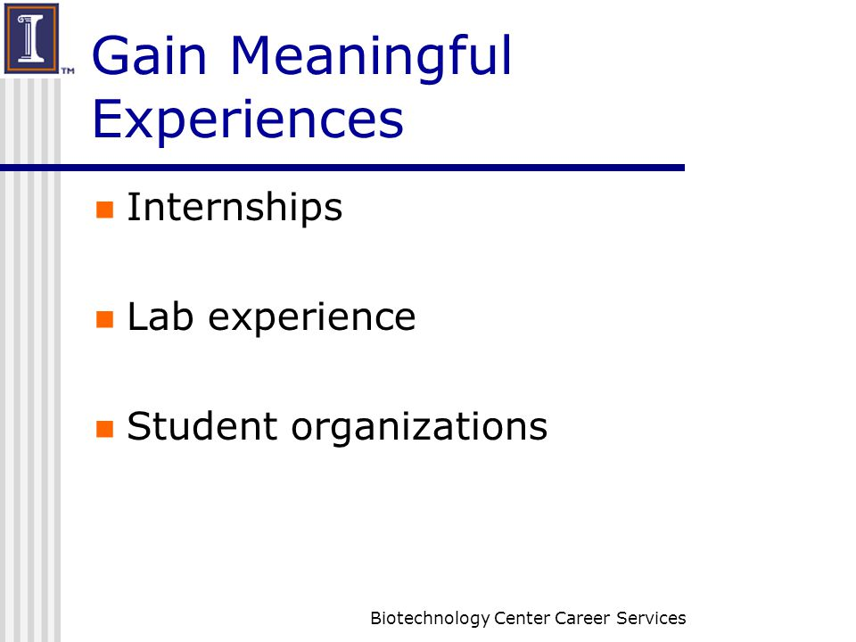 4 Biotechnology Center Career Services Gain Meaningful Experiences  Internships Lab Experience Student Organizations