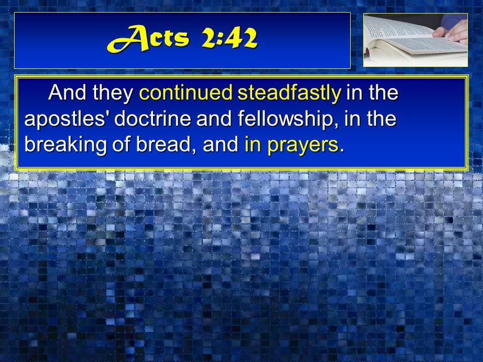 Acts 2:42 And they continued steadfastly in the apostles doctrine and fellowship, in the breaking of bread, and in prayers.