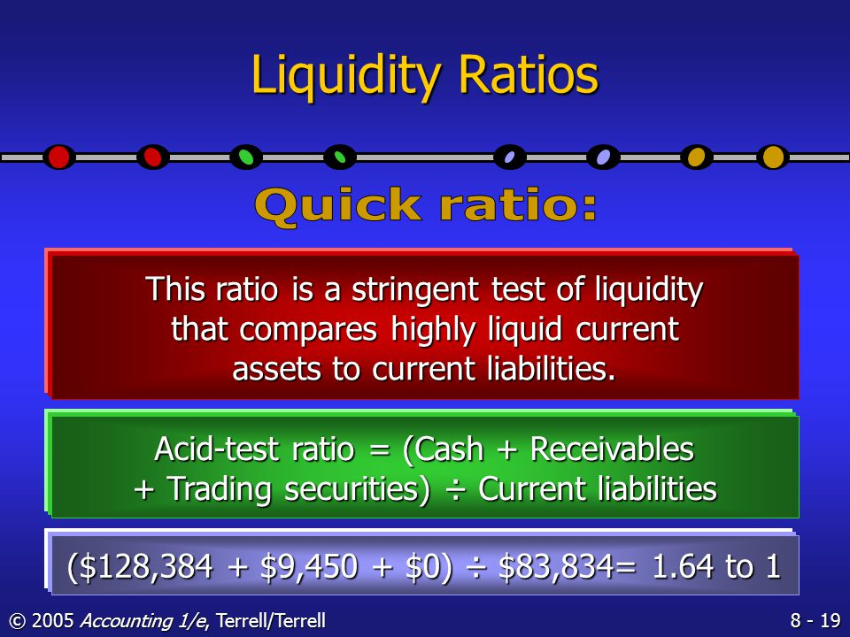 © 2005 Accounting 1/e, Terrell/Terrell Liquidity Ratios This ratio measures the company's ability to meet its current liabilities with current assets.