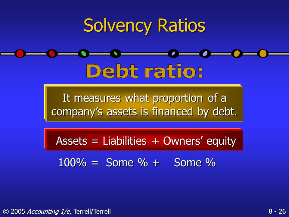 © 2005 Accounting 1/e, Terrell/Terrell Solvency Ratios Solvency ratios are of most interest to stockholders, long-term creditors, and company management.