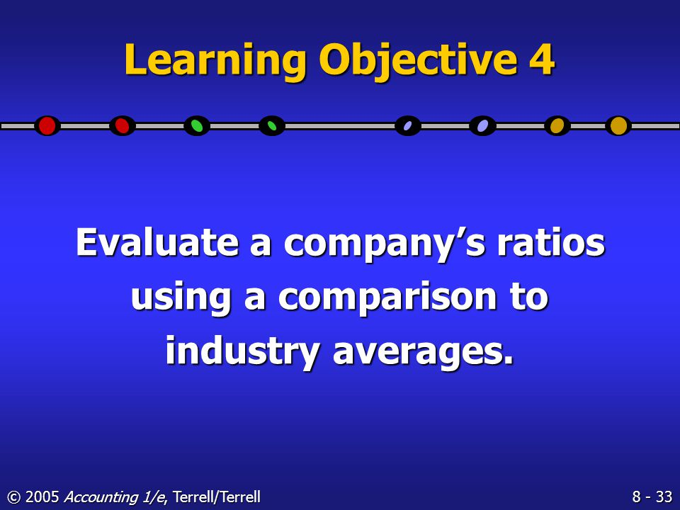 © 2005 Accounting 1/e, Terrell/Terrell Industry Averages Table II provides the same information items as Table I, but it considers only companies that showed a net income for the year.