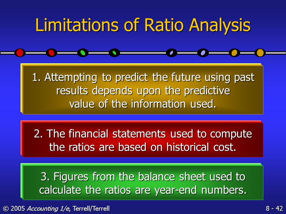 © 2005 Accounting 1/e, Terrell/Terrell Learning Objective 7 State the limitations of ratio analysis.