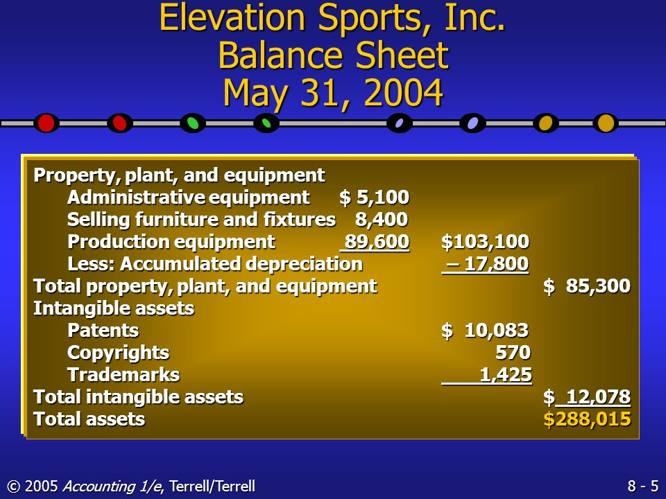 8 - 4 © 2005 Accounting 1/e, Terrell/Terrell Elevation Sports, Inc.