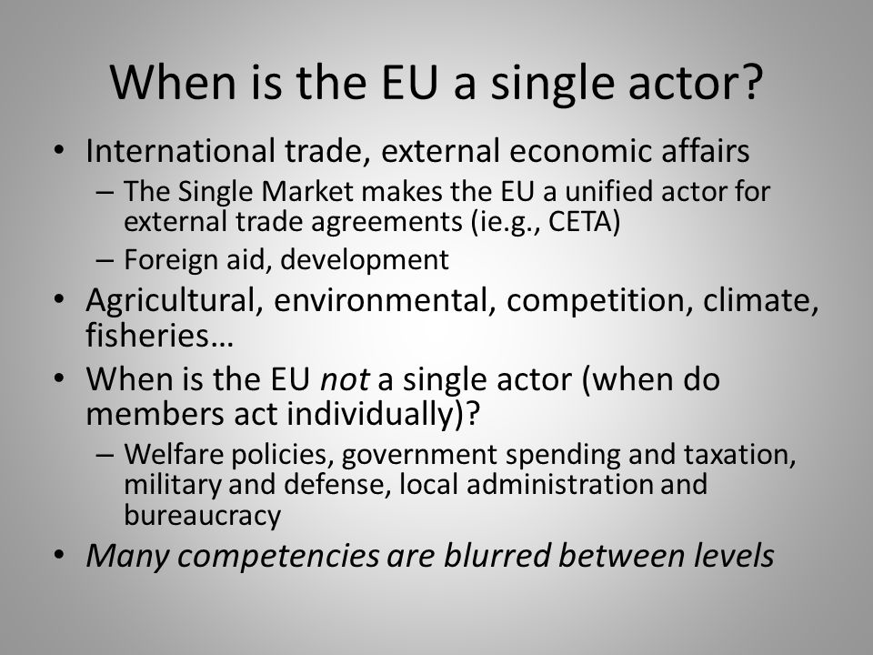 When is the EU a single actor.
