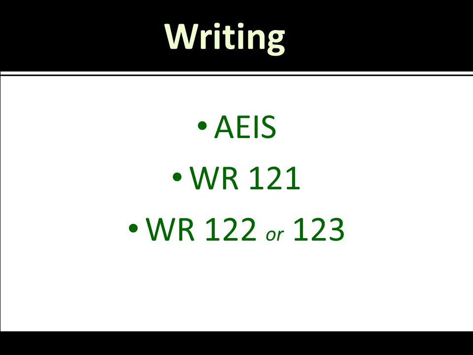Writing AEIS WR 121 WR 122 or 123