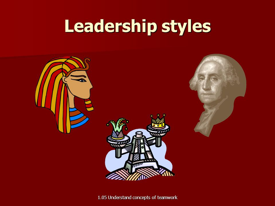 Leadership styles 1.05 Understand concepts of teamwork