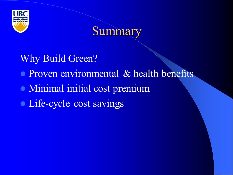 Summary Why Build Green.