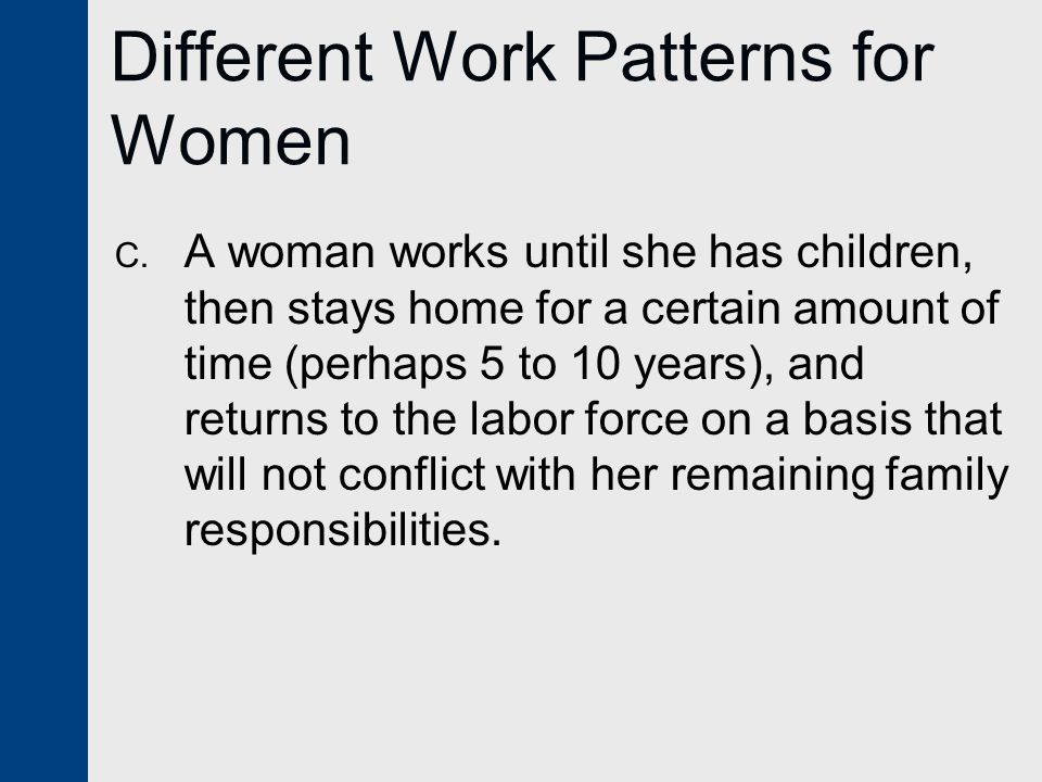 Different Work Patterns for Women C.