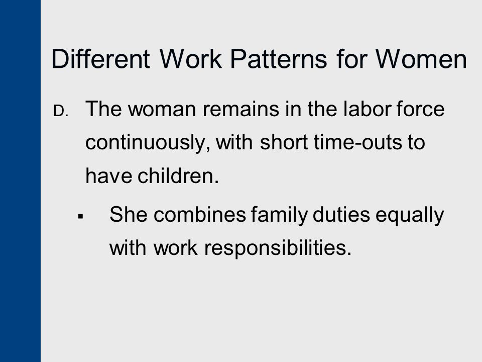 Different Work Patterns for Women D.