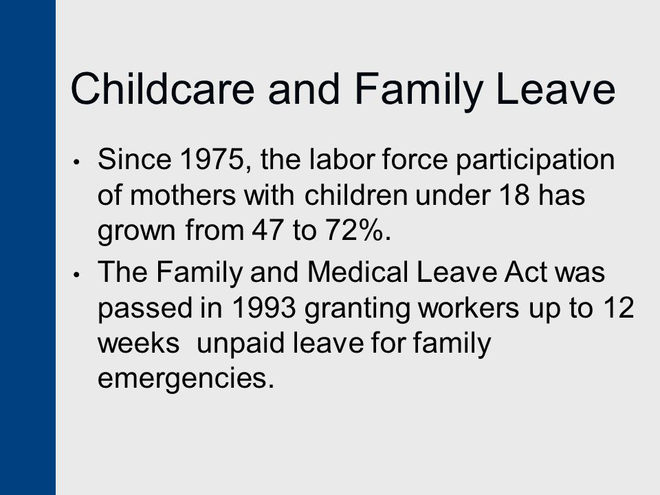 Childcare and Family Leave Since 1975, the labor force participation of mothers with children under 18 has grown from 47 to 72%.