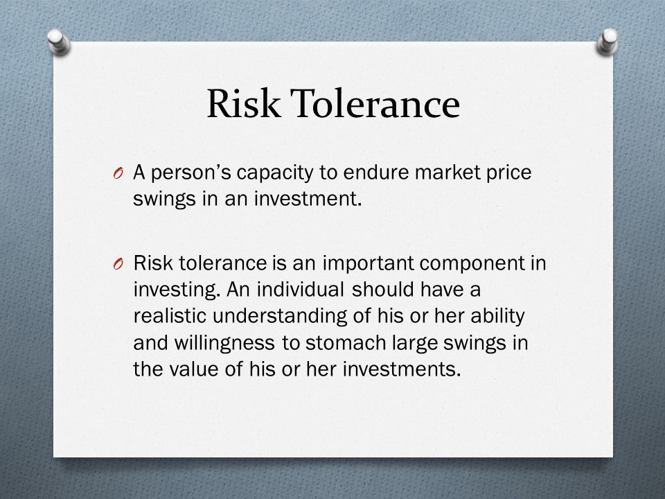 Risk Tolerance O A person's capacity to endure market price swings in an investment.