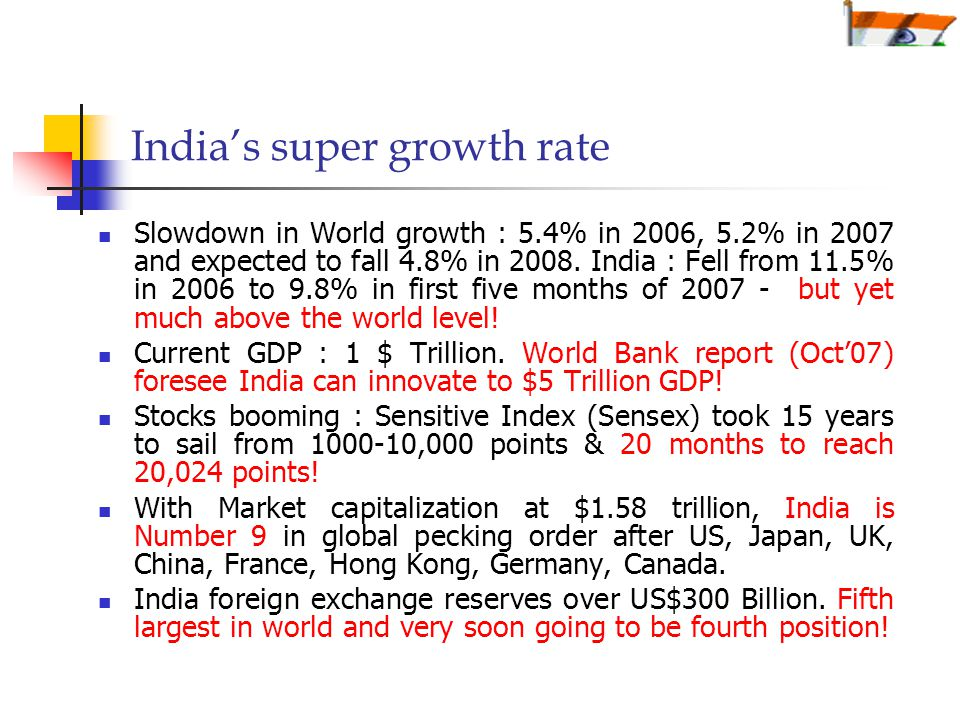 India's super growth rate Slowdown in World growth : 5.4% in 2006, 5.2% in 2007 and expected to fall 4.8% in 2008.