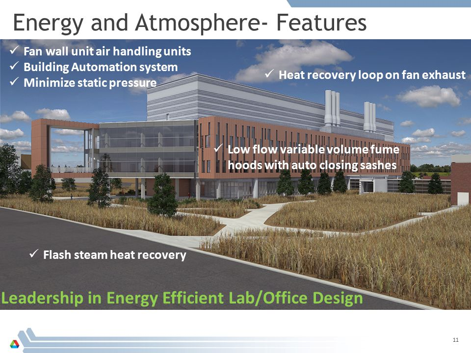 11 Energy and Atmosphere- Features Flash steam heat recovery Fan wall unit air handling units Building Automation system Minimize static pressure Low flow variable volume fume hoods with auto closing sashes Leadership in Energy Efficient Lab/Office Design Heat recovery loop on fan exhaust