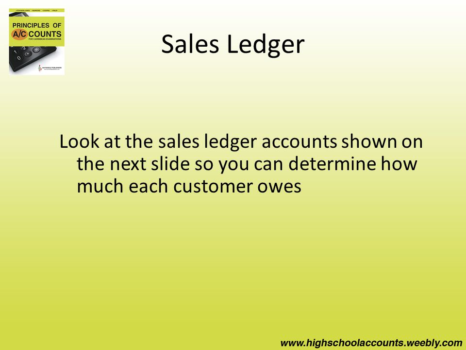 Sales Ledger Look at the sales ledger accounts shown on the next slide so you can determine how much each customer owes
