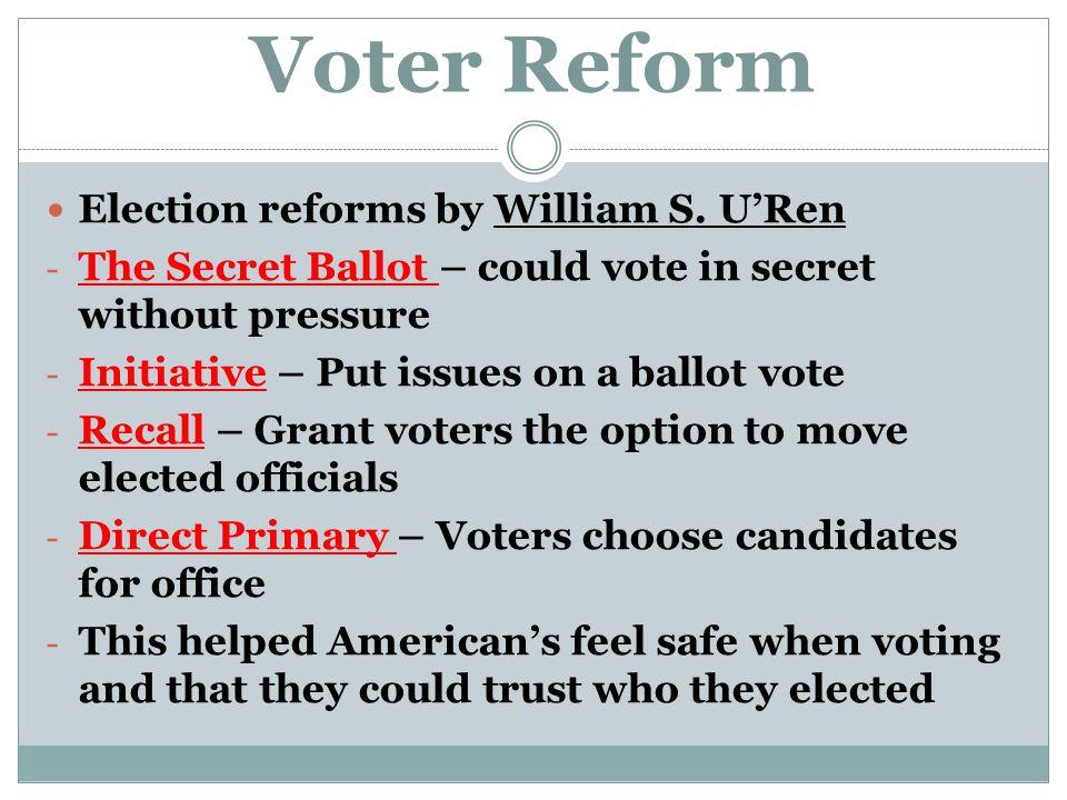 Recall Election Progressive Era Voter Reform Election reforms